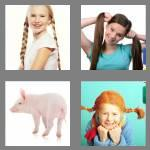 4 pics 1 word 8 letters pigtails